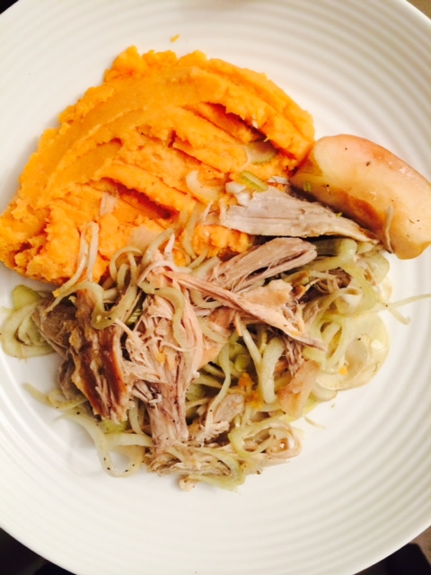 Fennel and apple cider braised pork with sweet potato mash
