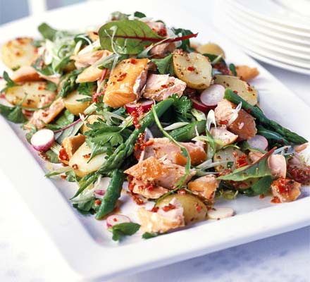 Try this hot smoked salmon salad with chilli lemon dressing from BBC FOOD