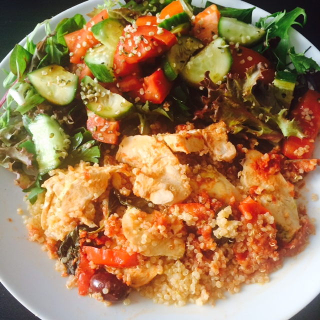 Chicken cacciatore with quinoa and side salad