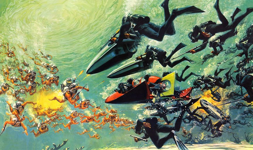 Concept art for the fantastic underwater battle scene in the climax of Thunderball 1965.