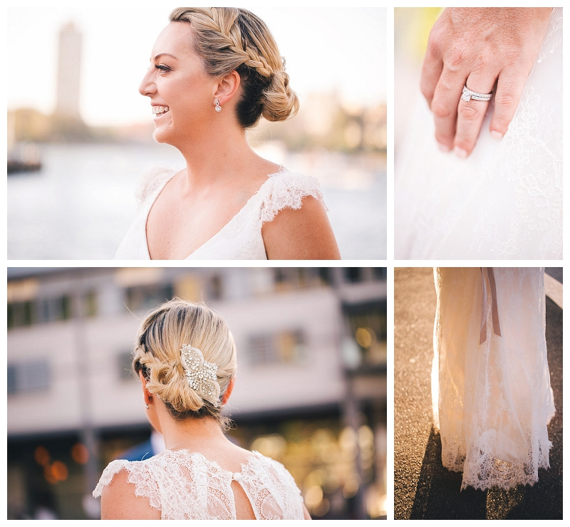 Wedding hairstyle, ring, earrings