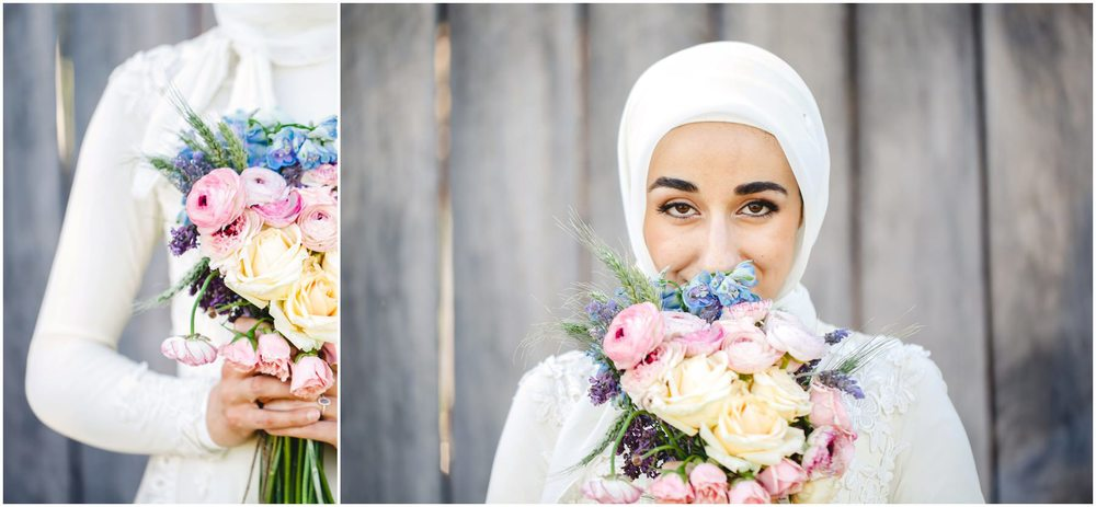 traditional muslim bride with bouquet polo club sydney