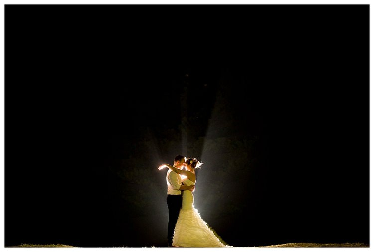 night wedding couple with glow