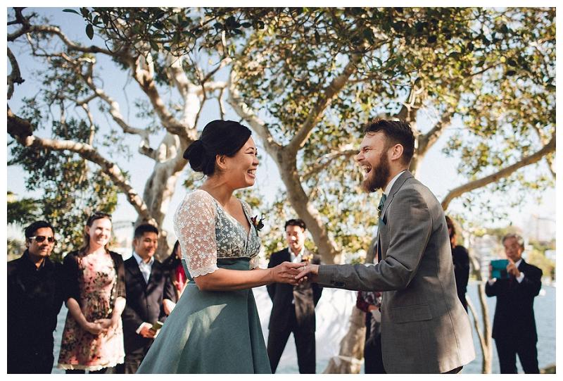 bride and groom -  cremorne reserve waterside wedding