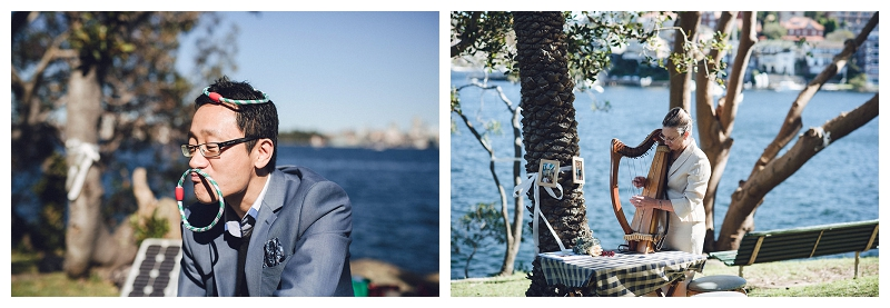 harp at a  cremorne reserve waterside wedding