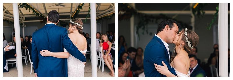 jonah's whale beach wedding ceremony kiss
