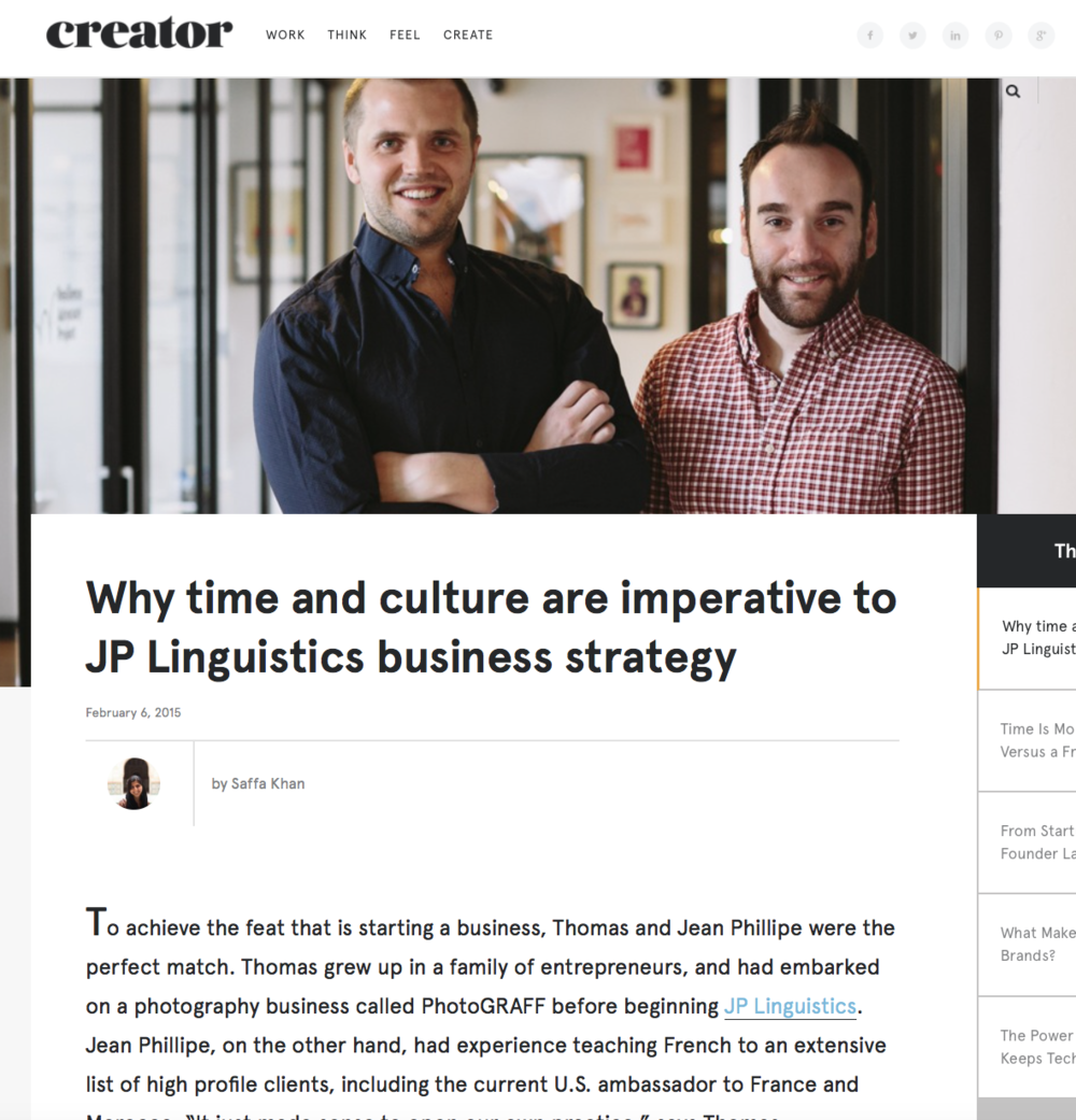JP Linguistics in Creator Magazine with WeWork