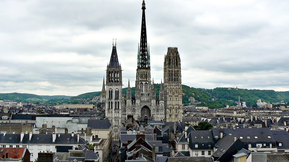 Cathedral Notre-Dame, Rouen - Image: theluxurytravelexpert.com  Located in Rouen, the gothic style cathedral was destroyed during a Vikings invasion in 841. After continuous rebuilding and updating, its 19th century cast iron spire is that tallest in France.