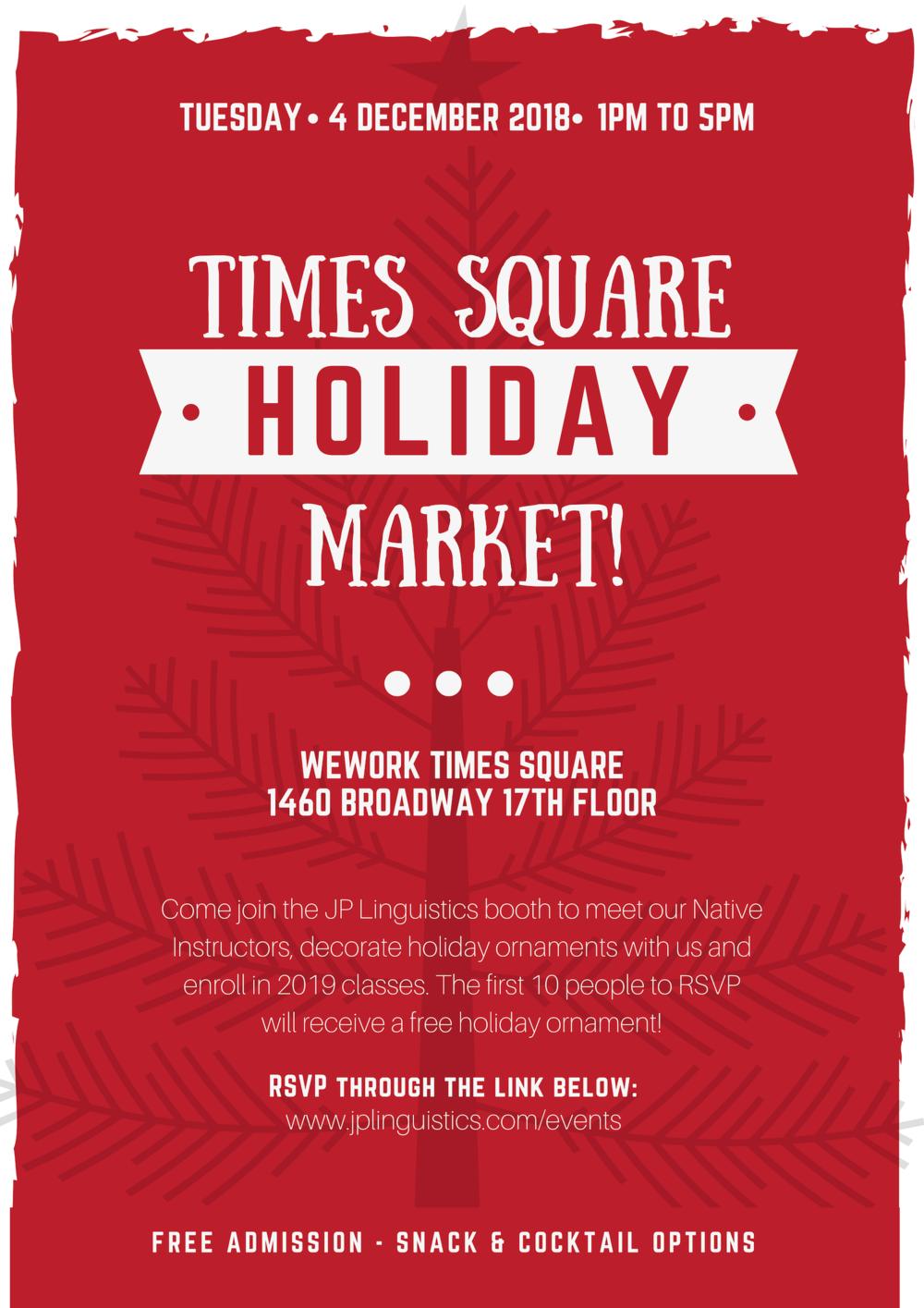 JP Linguistics Times Square Holiday Market WeWork