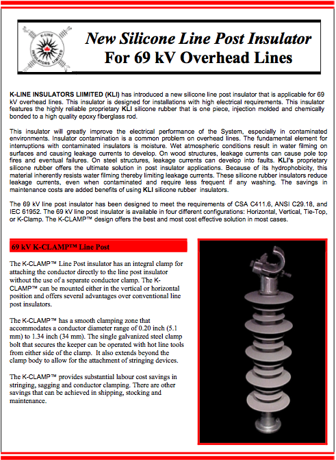 Chapter 1 Distribution 69 kV LP Product Bulletin