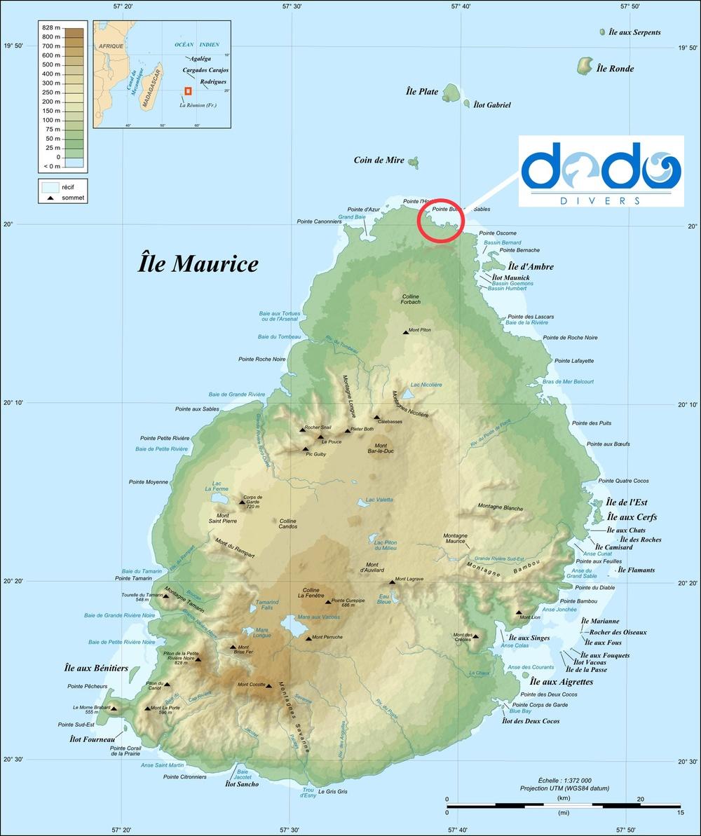 Il Diving è posizionato a nord di Mauritius
