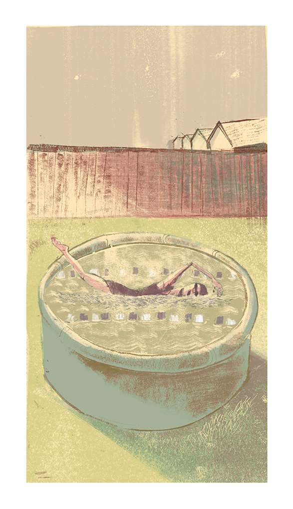 "Another assignment for Pete Ryan's editorial class. A book review image for Leanne Shapton's ""Swimming Studies"". The book chronicles Leanne's swimming career and her struggle with being good but not good enough."