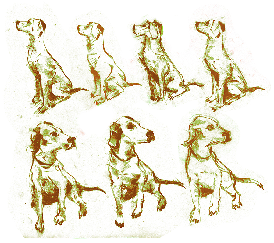 Some variations of a dog for an upcoming image.