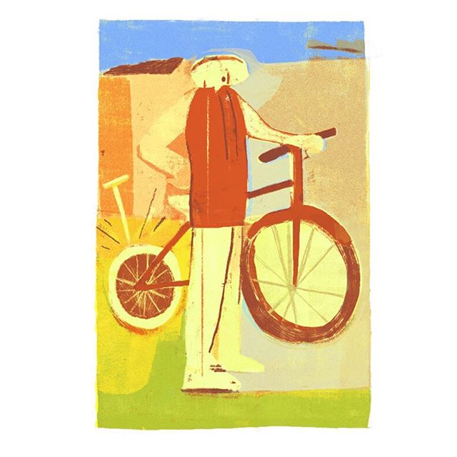 Flat Tire Down Memory Lane. . #torontoillustration #torontoartist #societyofillustrators #art #bike #cycling #colour #illustration #poster #print