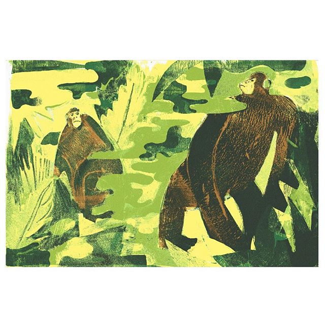 Is war innate? #illustration #art #jungle #monkey #chimpanzee #forest #green #war #camo #yellow #print