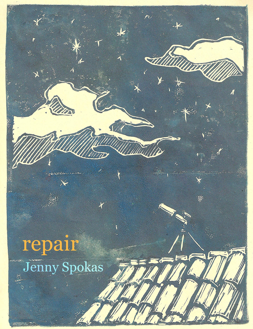 'Repair,' book cover design for Jenny Spokas, 2014. Block print.