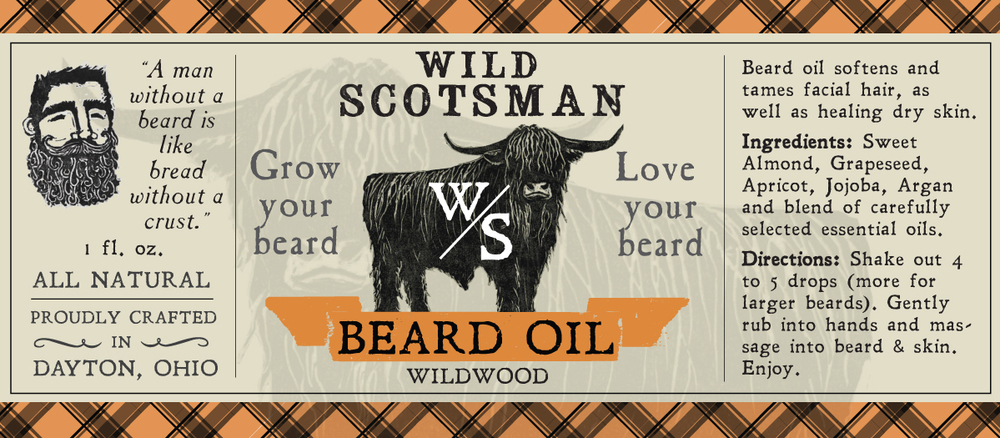 Wild Scotsman beard oil label design