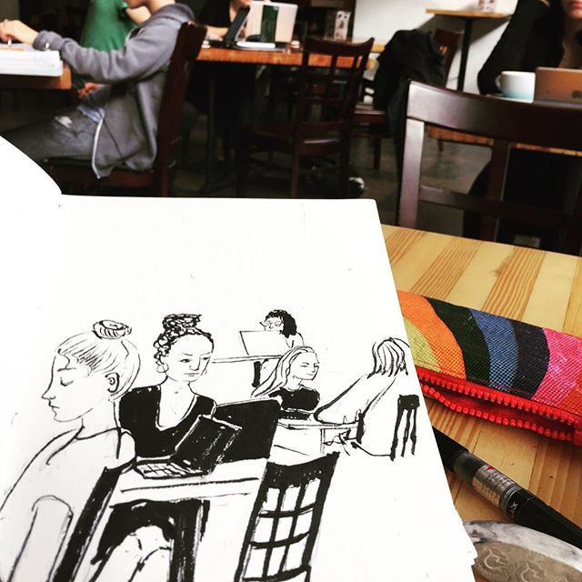 Fighting my self-conscious perfectionist side by doing some quick sketches @therooseveltcoffeehouse . My sweet husband has given me two whole weekends to be blissfully free and just go where the wind takes me. If anybody is interested in meeting up to draw next Saturday, that's what I'll be doing! #cafesketching #dailydrawing