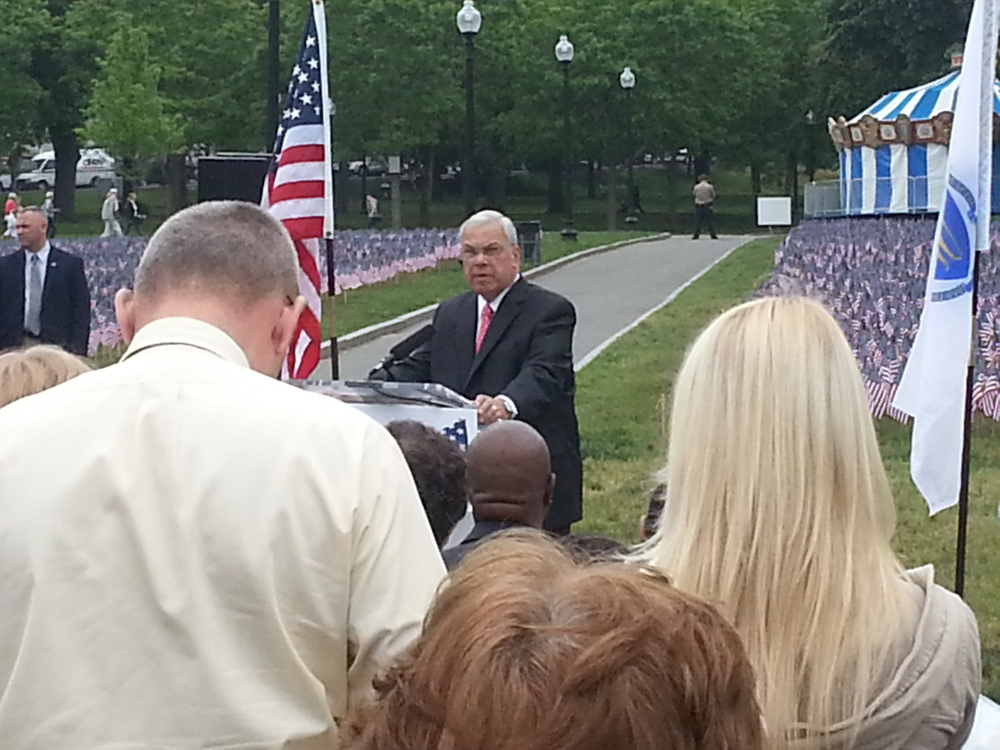 Boston's Mayor Menino, just barely out from a long and brutal hospital stay, but at the podium giving thanks and remembering those who gave their all.