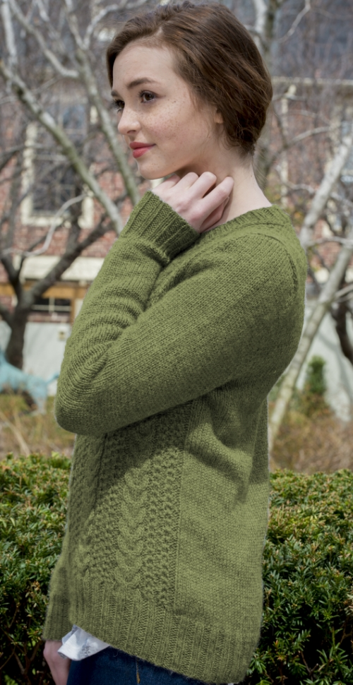 Gillam by Kate Gagnon Osborn featuring The Fibre Company's Knightsbridge recolored in Bishop's Green. Distributed by Kelbourne Woolens