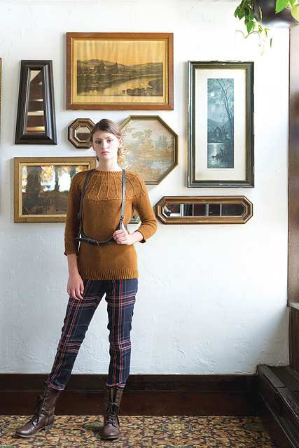 Agrotera Pullover by Amanda featuring The Fibre Co. Cumbria in the Fall 2015 issue of Interweave Knits, available now!