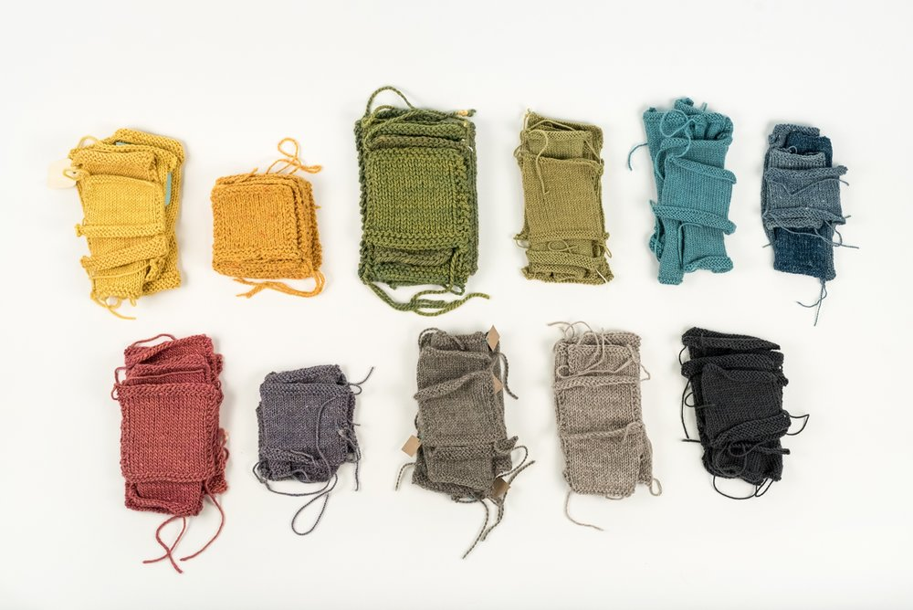 Top row, l to r: Canopy Worsted, Arranmore, Tundra, Canopy Fingering, Road to China Light, Meadow. Bottom row, l to r: Terra, Acadia, Knightsbridge, Cumbria, Cumbria Fingering.