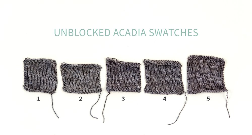 #KWswatchexperiment The Fibre Co. Acadia Unblocked Swatches