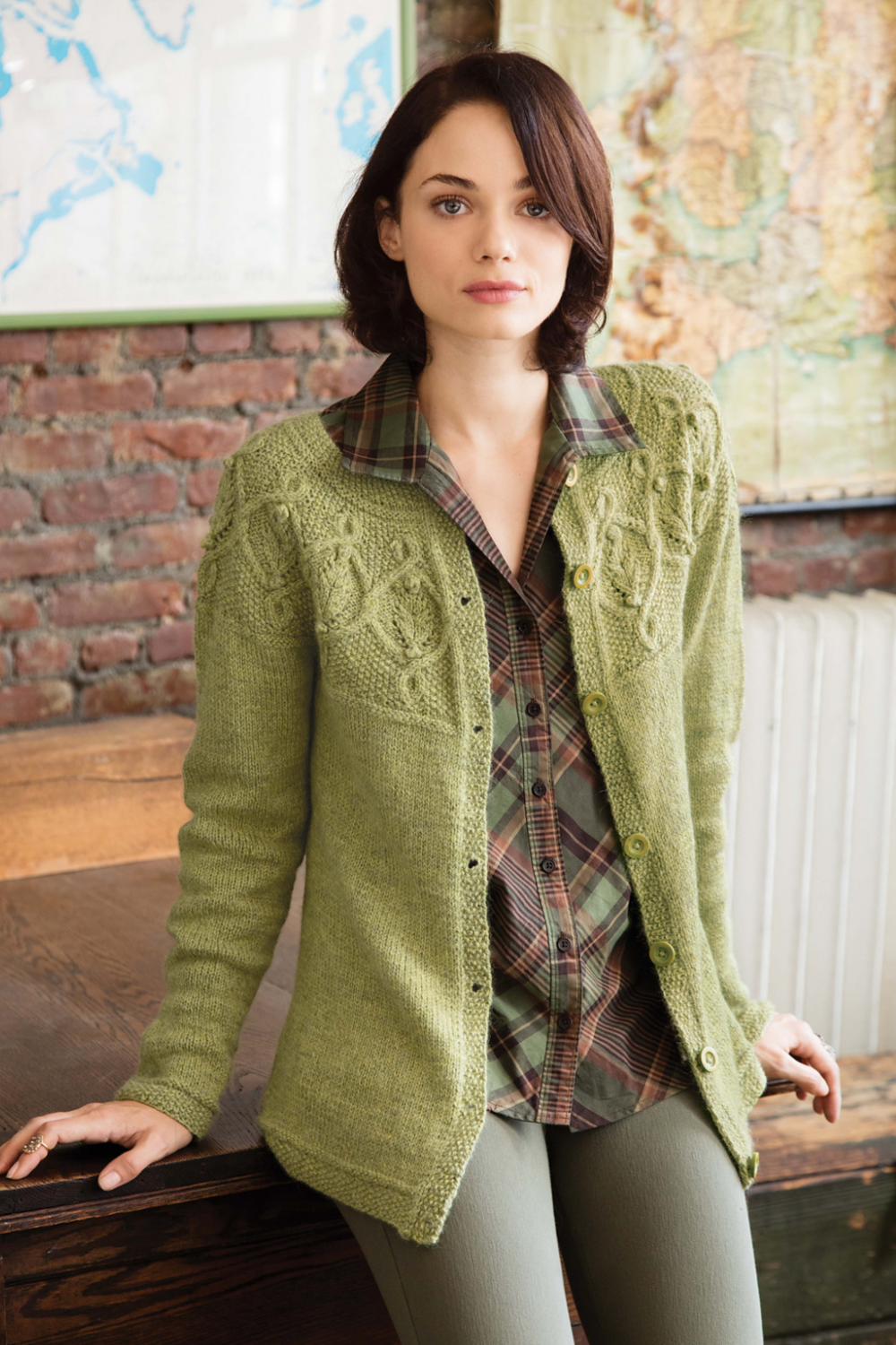 #19 Cabled Yoke Cardigan by Kristen TenDyke featuring The Fibre Co. Knightsbridge
