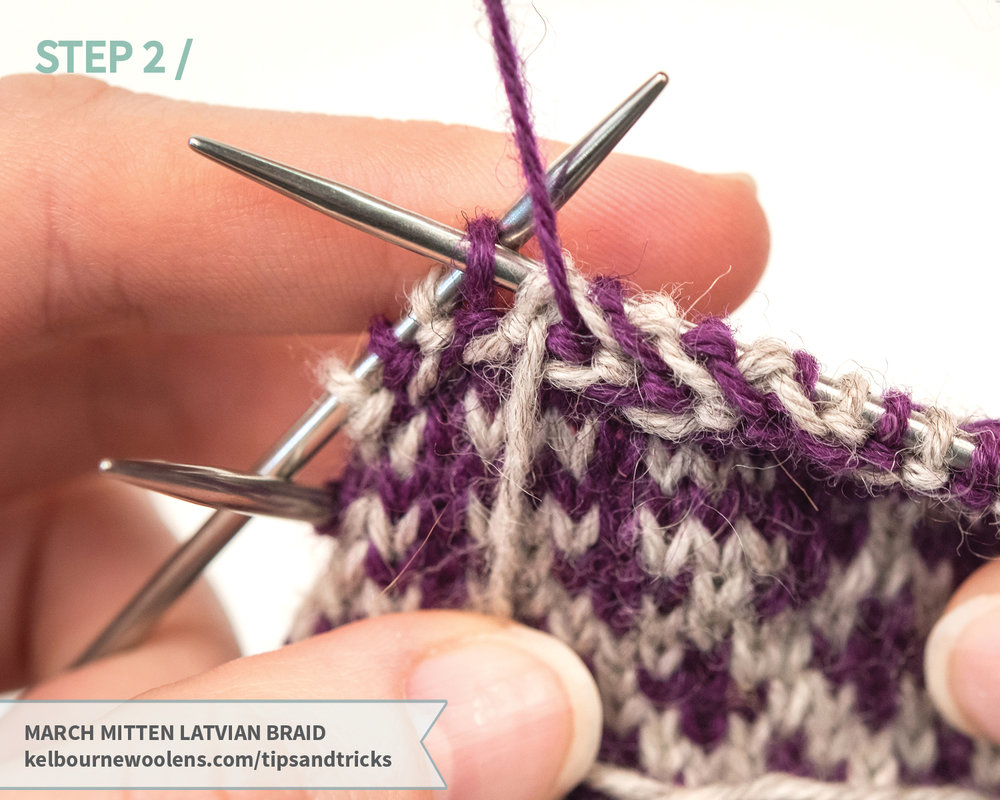 Kelbourne Woolens Tips and Tricks: March Mitten Latvian Braid