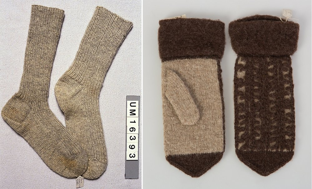 Mittens and Socks from the original Bohus Stickning 1940. Mittens: Mönster Kedjsesöm, design Vera Bjurström. Collection of the Bohuslan Museum.