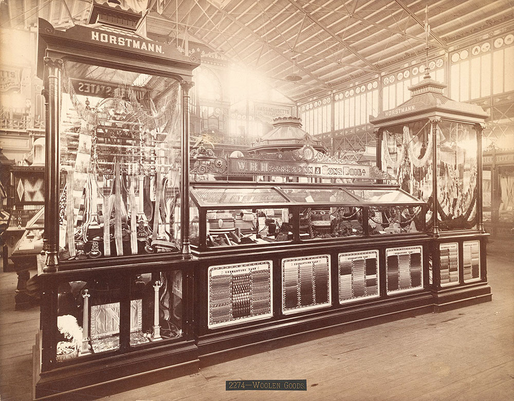 Wm. H. Horstmann & Sons, Phila., Pa, Exhibit of Germantown Yarns in the 1876 World's Fair in Philadelphia.  #711, Main Exhibition Building, Bldg. #1. / Free Library of Philadelphia / 1876, Centennial Photographic Co.