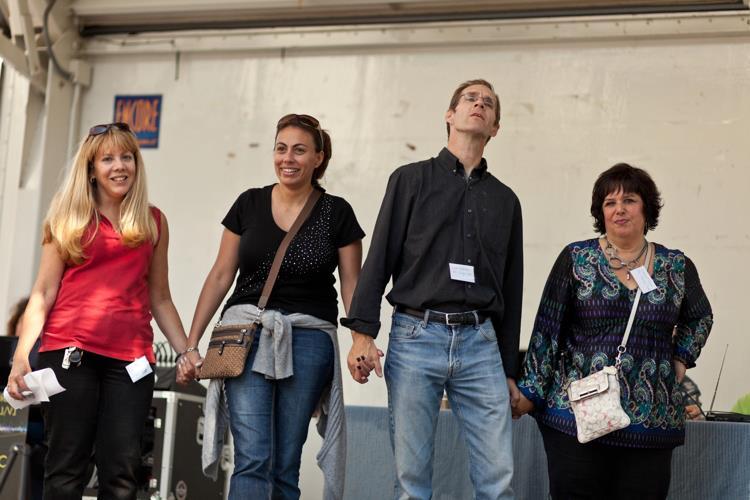 Iris, Salma, Luke, and Carole at the Disability Pride celebration.