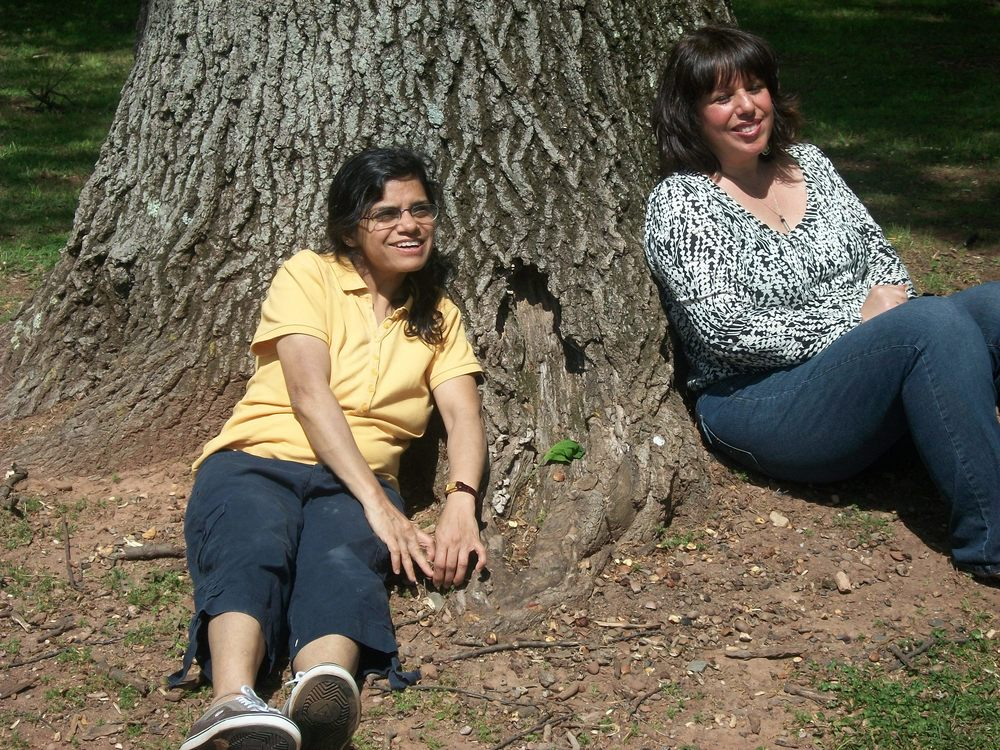 Anju and Carole at the Arbor Day tree planting.