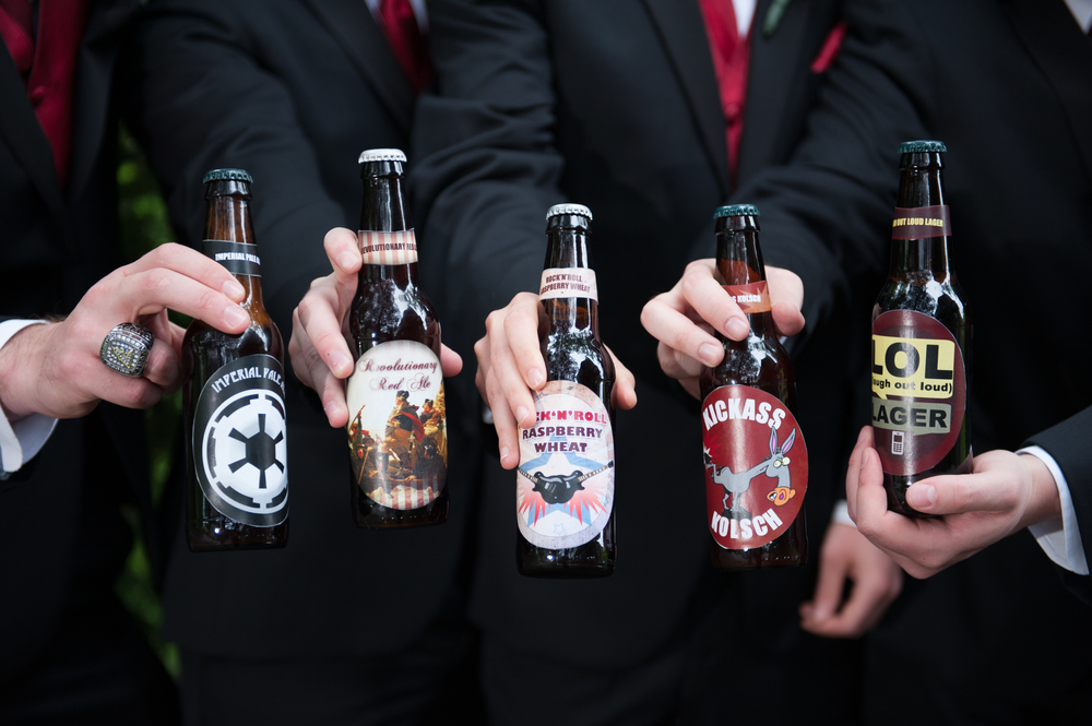 Steve and his groomsmen brewed over 250 beers in 5 different flavors for his wedding reception.