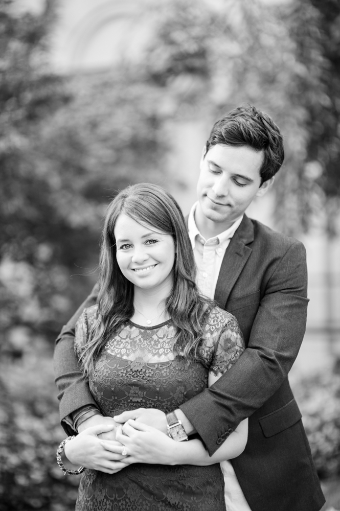 Black and white engagement photo in DC