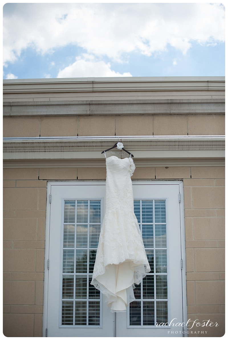 Bride's dress hangs at Lorien Hotel and Spa in Alexandria, VA
