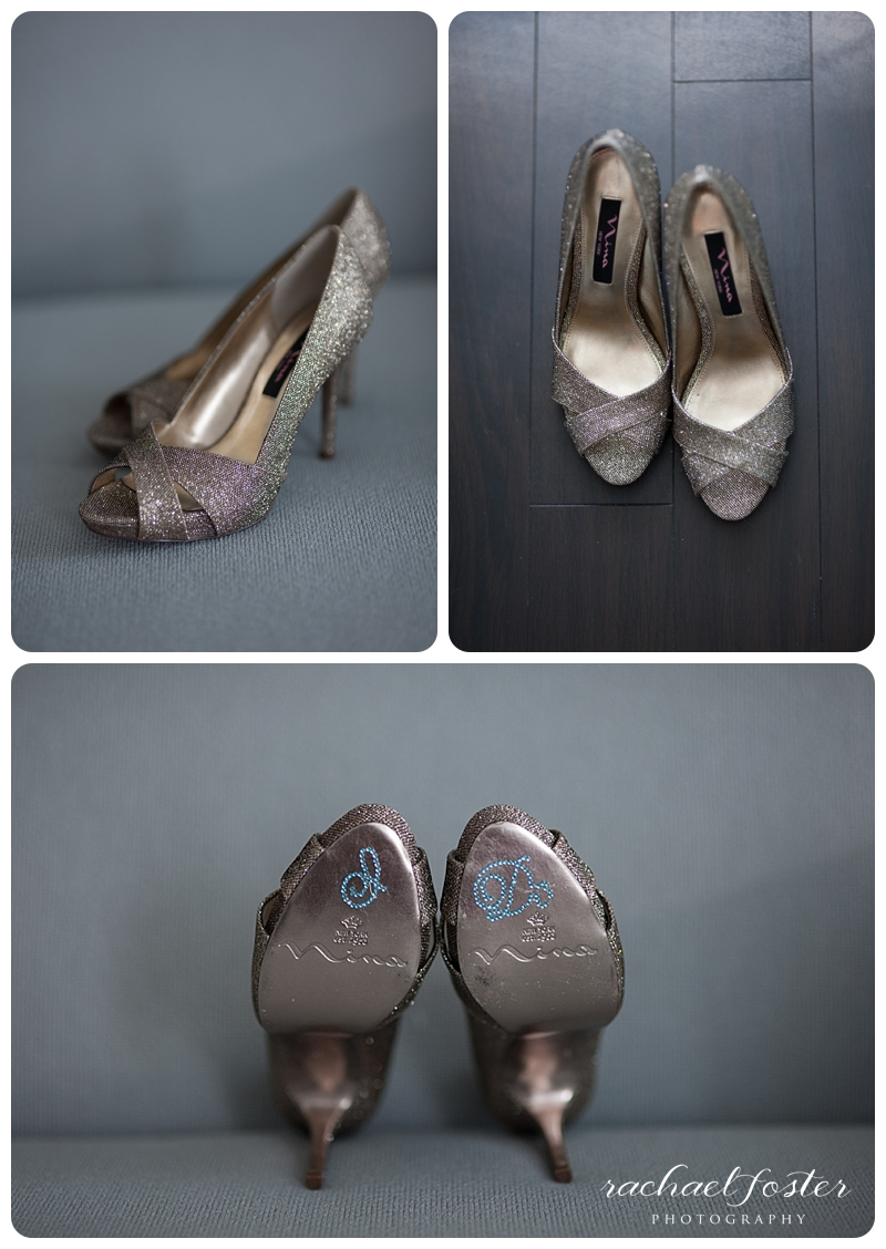 Bride's shoes say I Do at Lorien Hotel and Spa in Alexandria, VA