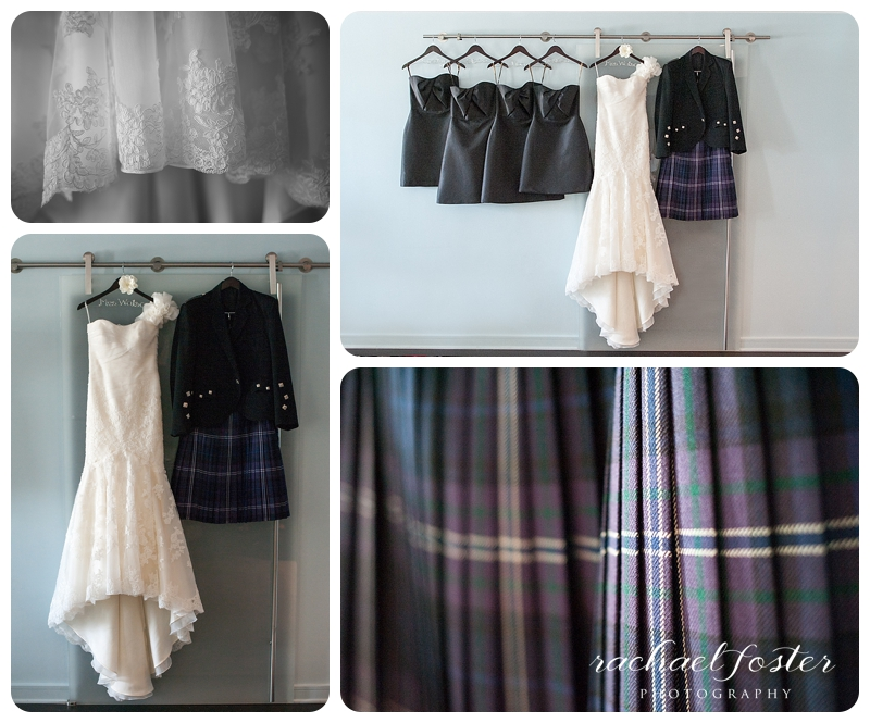 Bride's dress with Groom's Kilt at Lorien Hotel and Spa in Alexandria, VA