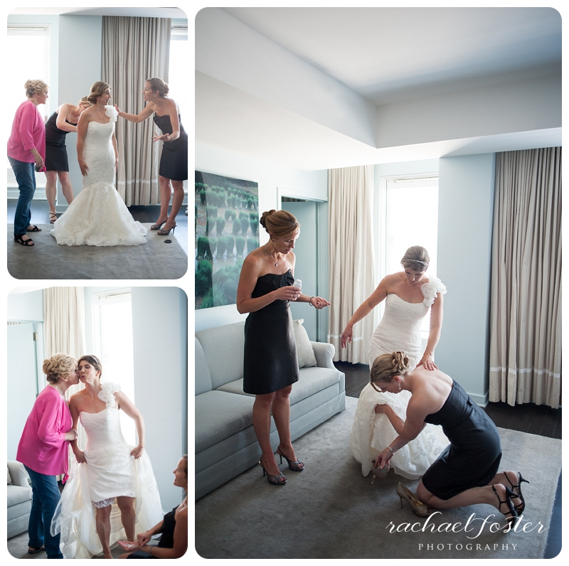Bride getting into her dress at Lorien Hotel and Spa in Alexandria, VA