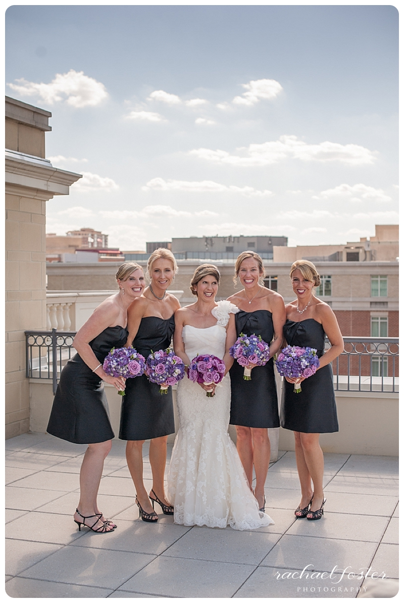 Bride and bridesmaids on rooftop of Lorien Hotel and Spa in Alexandria, VA