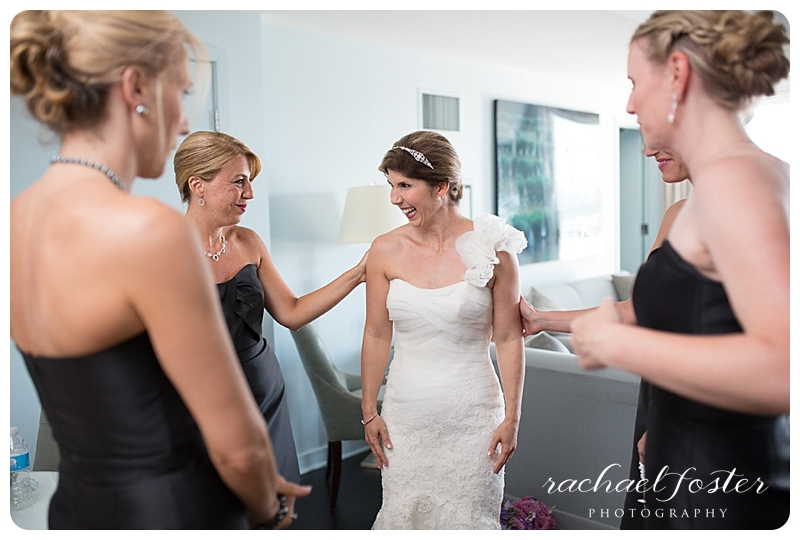 Bride and bridesmaids getting ready at Lorien Hotel and Spa in Alexandria, VA
