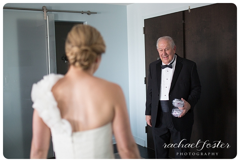 Bride's father sees her for the first time at Lorien Hotel and Spa in Alexandria, VA