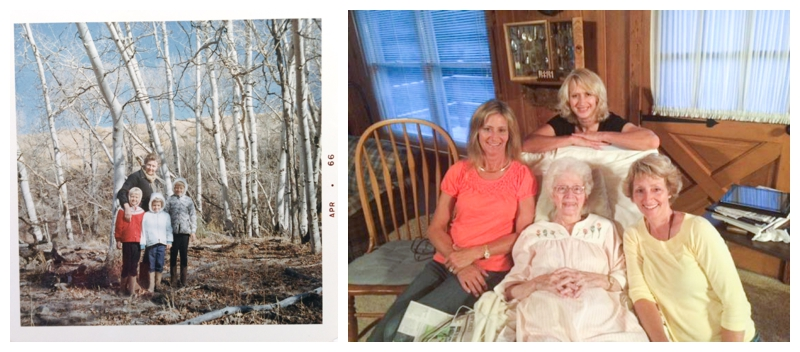 Grandma Marcia with her three daughters, then and now