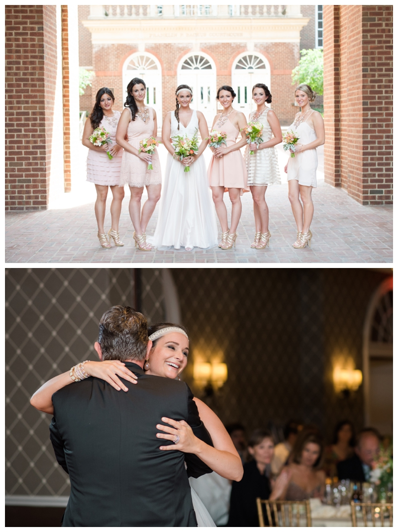 The top photo of the bride and her her maids uses all natural light, while the bottom photo of her dance with her father uses off camera flash and bounce flash.
