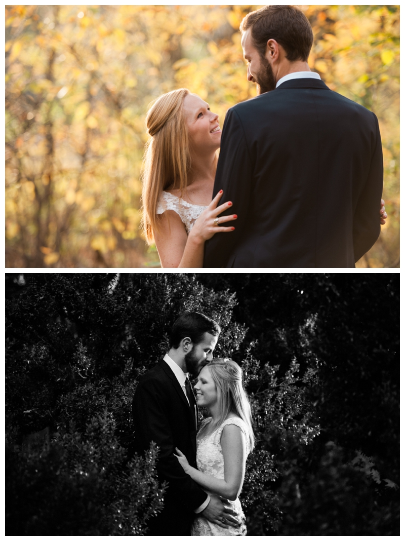 This couple's portrait session included pictures before and after sunset. The first photo utilizes natural light while the second uses an off-camera light.