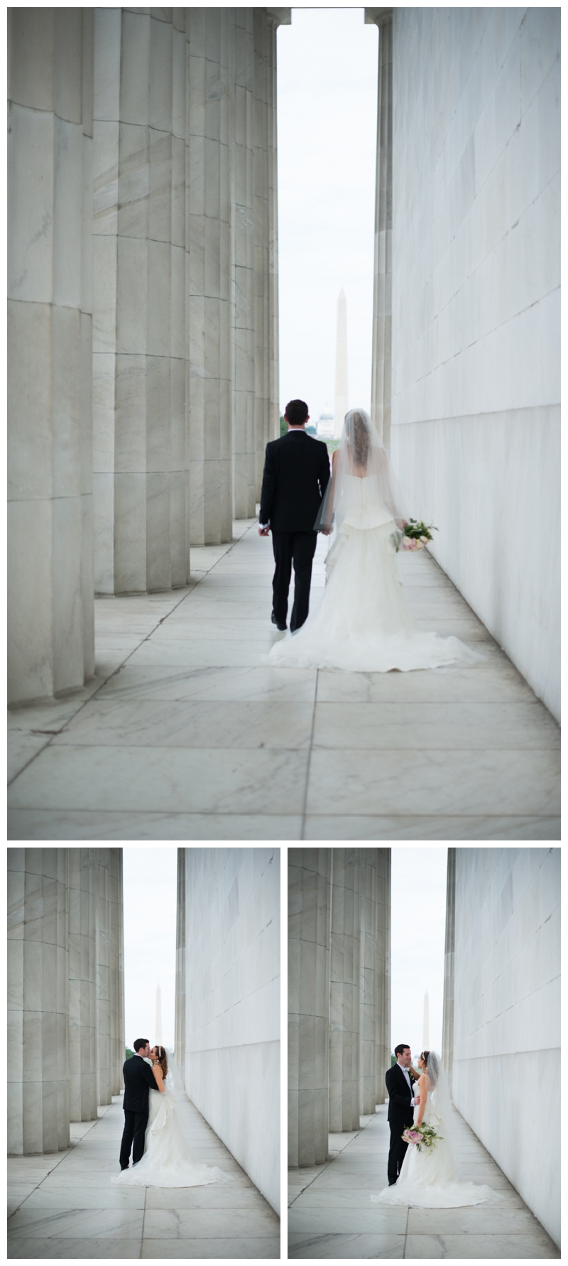 DC Wedding Day Portraits of Bride and Groom at the Lincoln Memorial by Rachael Foster Photography_0042.jpg