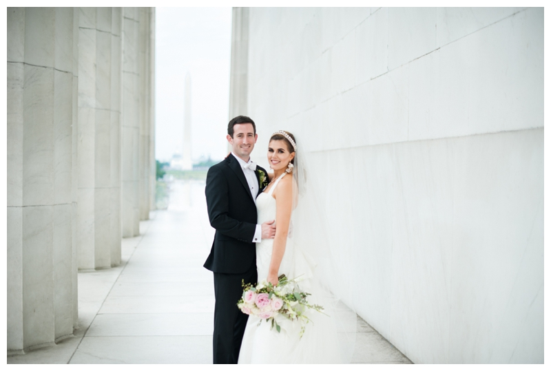 DC Wedding Day Portraits of Bride and Groom at the Lincoln Memorial by Rachael Foster Photography_0044.jpg