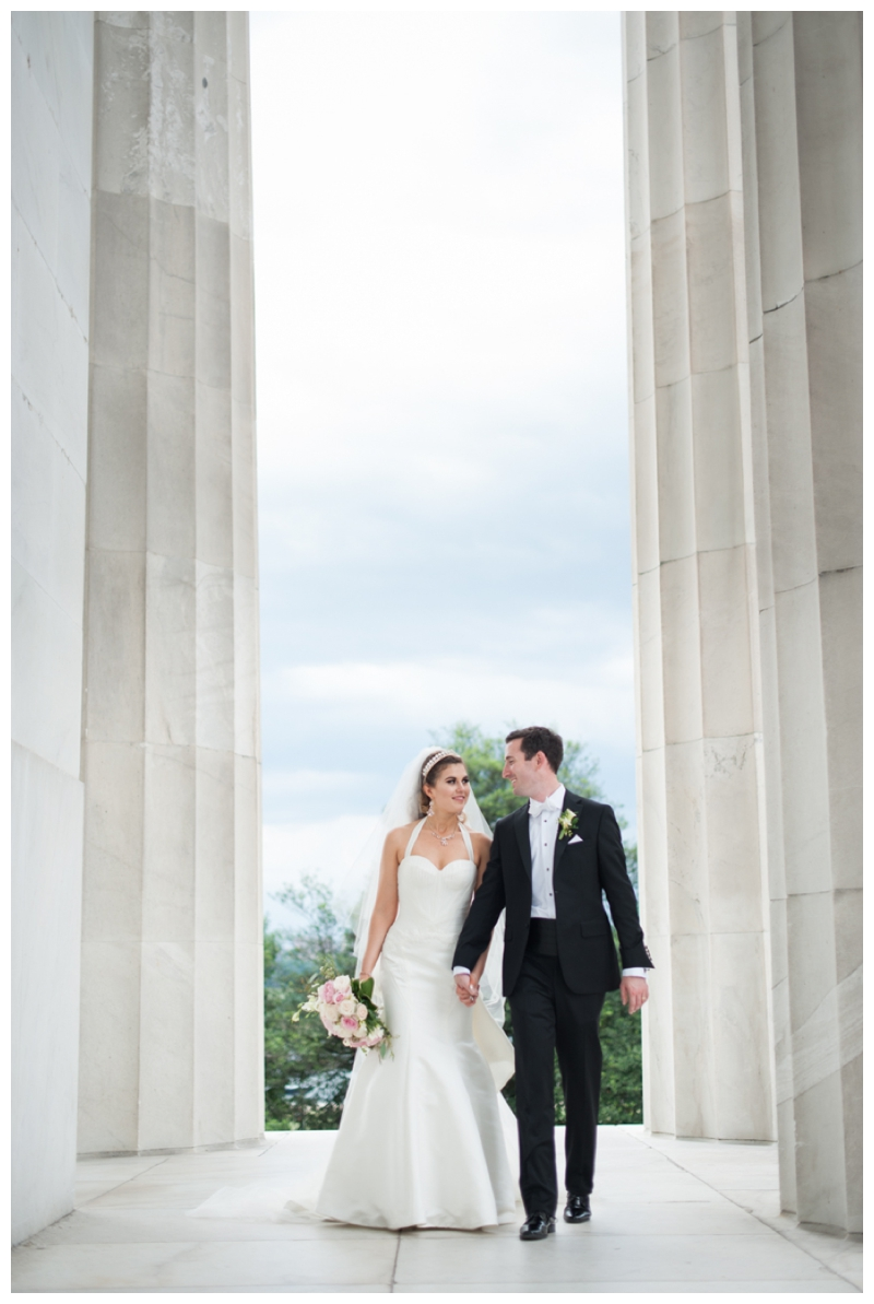 DC Wedding Day Portraits of Bride and Groom at the Lincoln Memorial by Rachael Foster Photography_0051.jpg
