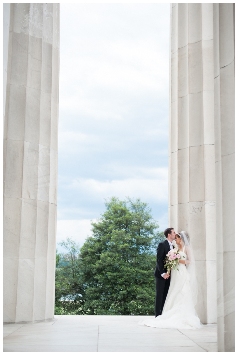 DC Wedding Day Portraits of Bride and Groom at the Lincoln Memorial by Rachael Foster Photography_0055.jpg
