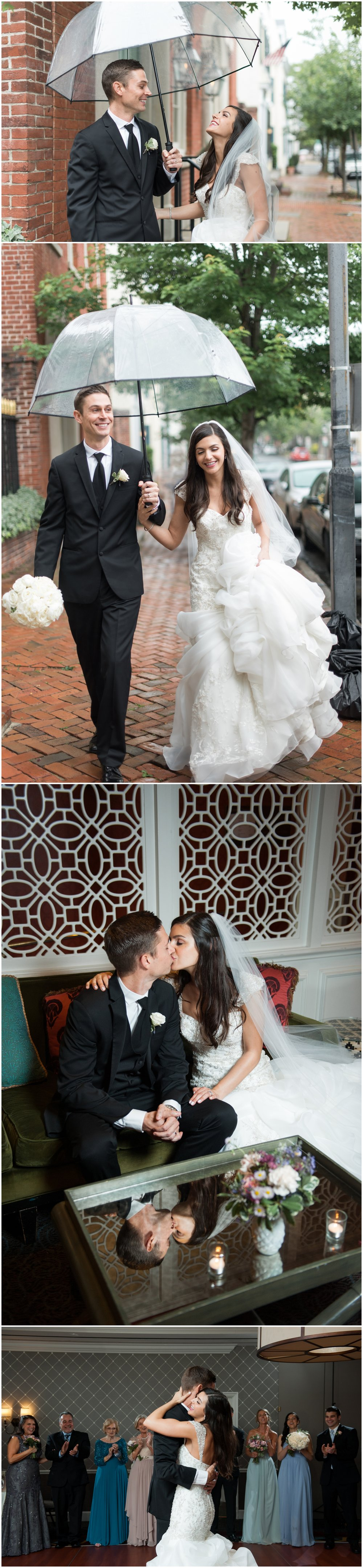 The first two photos of this bride and groom were taken using only natural light on a rainy day, while the second two photos use off camera flash and bounce flash.
